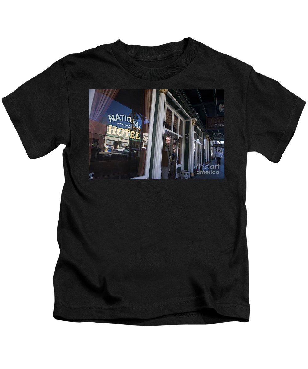 Travel Kids T-Shirt featuring the photograph National Hotel Nevada City California by Jason O Watson