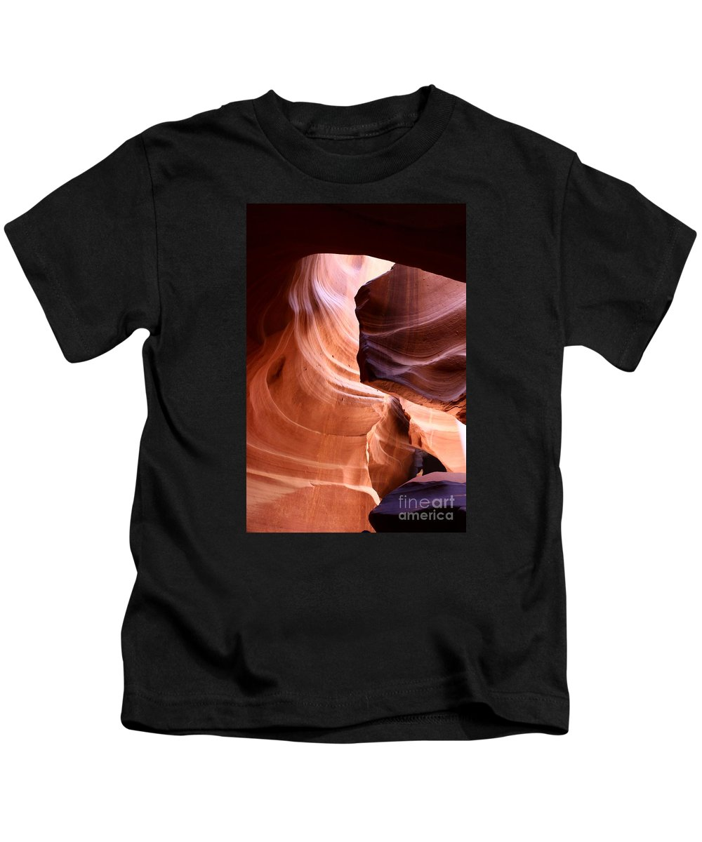 Antelope Slot Canyon Kids T-Shirt featuring the photograph Nature's Beautiful Abstract by Christiane Schulze Art And Photography