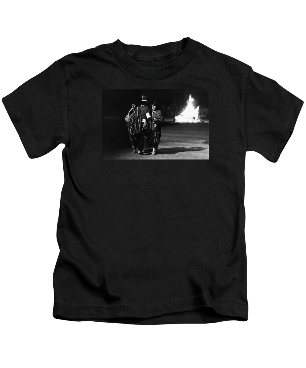 Navajo's Dance Night Fire Rodeo Grounds Inter-tribal Indian Rodeo Gallup New Mexico 1969 Kids T-Shirt featuring the photograph Navajo's Dance Night Fire Rodeo Grounds Inter-tribal Indian Rodeo Gallup New Mexico 1969 by David Lee Guss