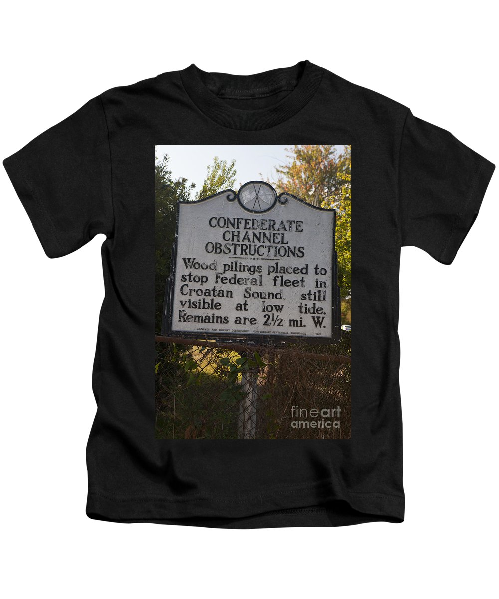 Confederate Channel Obstructions Kids T-Shirt featuring the photograph Nc-bbb3 Confederate Channel Obstructions by Jason O Watson