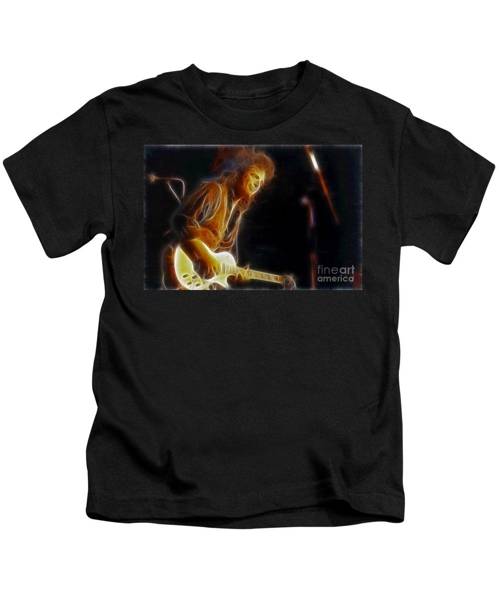 Neal Schon Kids T-Shirt featuring the photograph Neal Schon-gc18a-fractal by Gary Gingrich Galleries