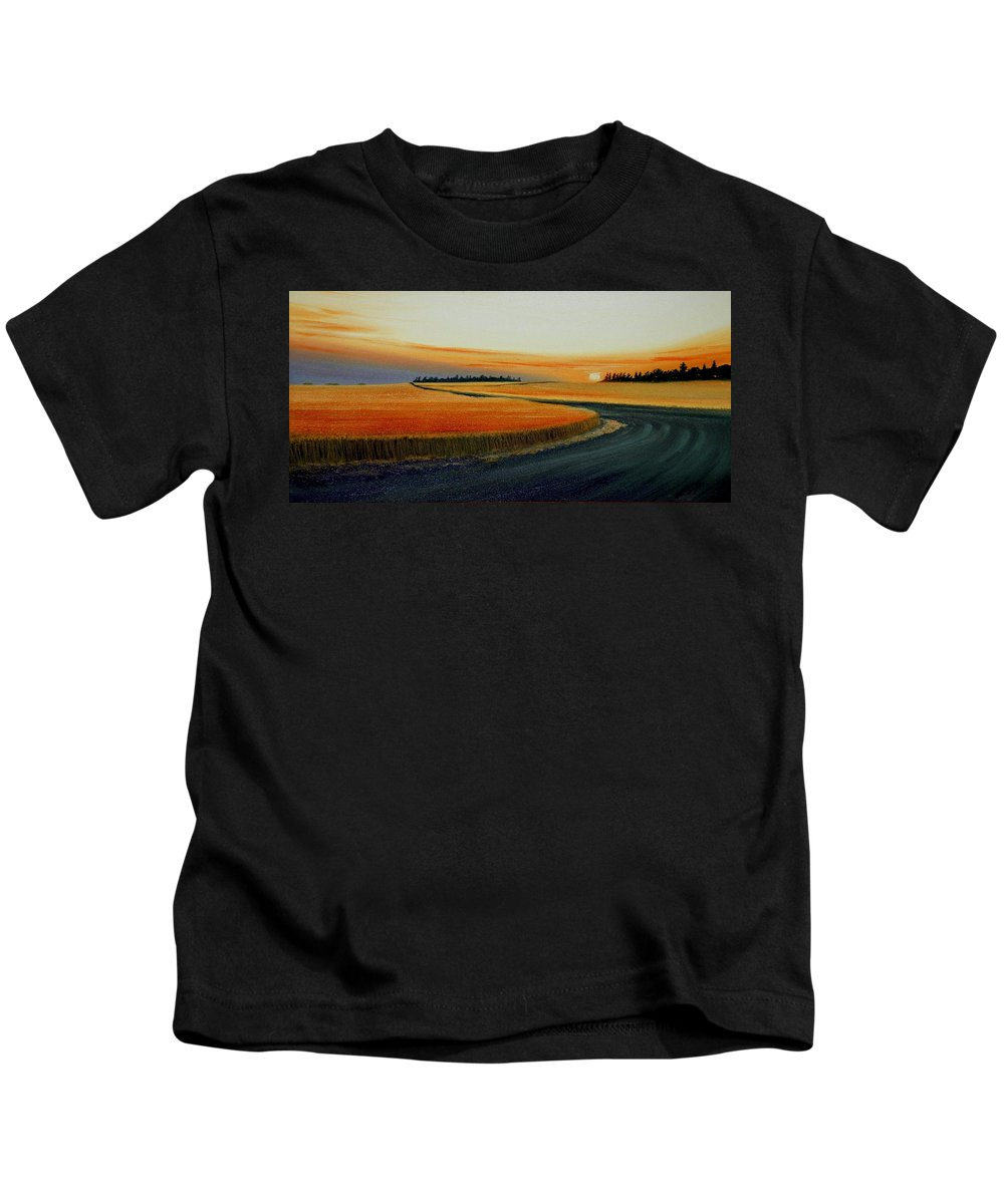 Wheat Kids T-Shirt featuring the painting Near Moscow by Leonard Heid