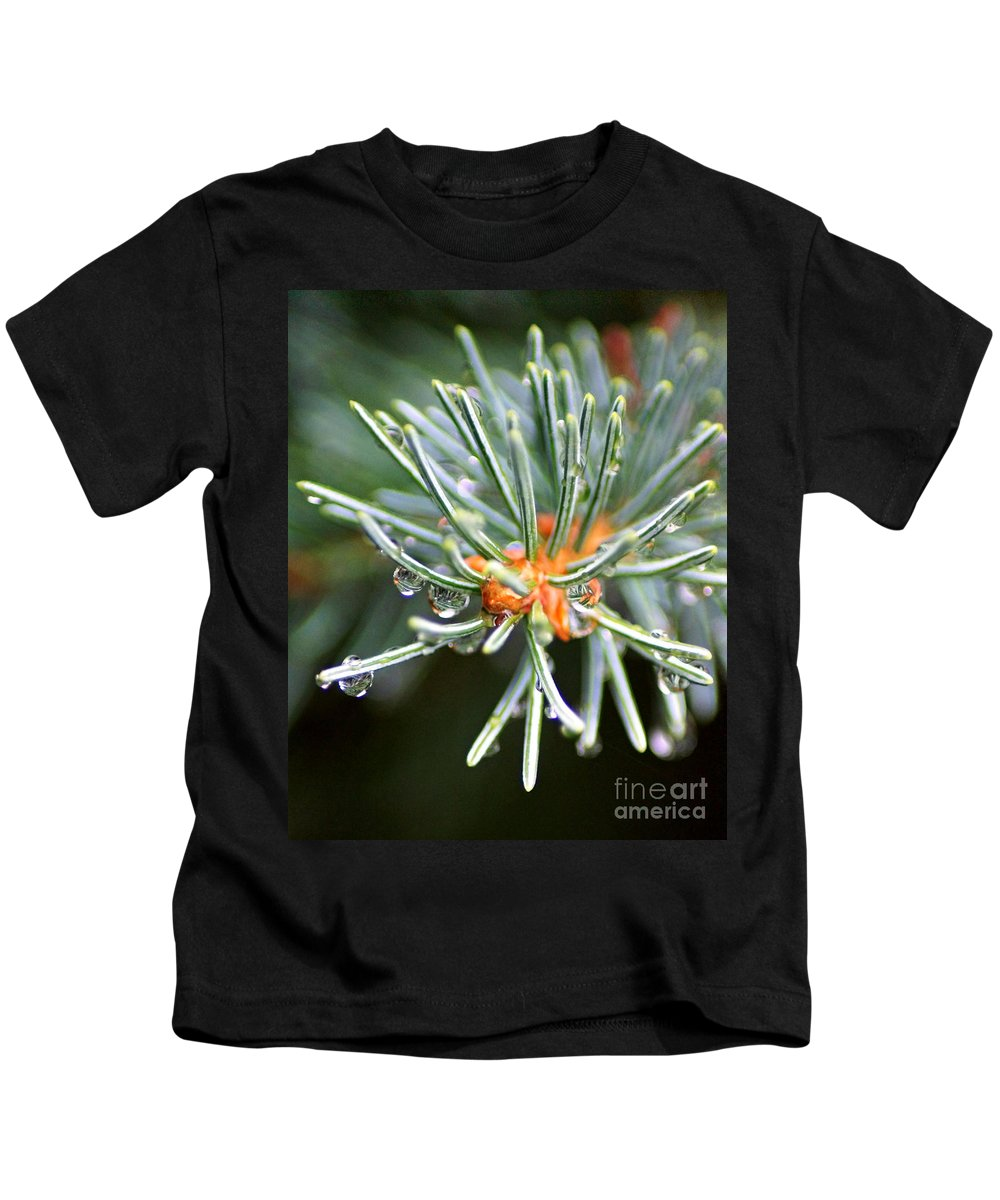 Evergreen Branch Kids T-Shirt featuring the photograph Needle Tips by Anita Braconnier