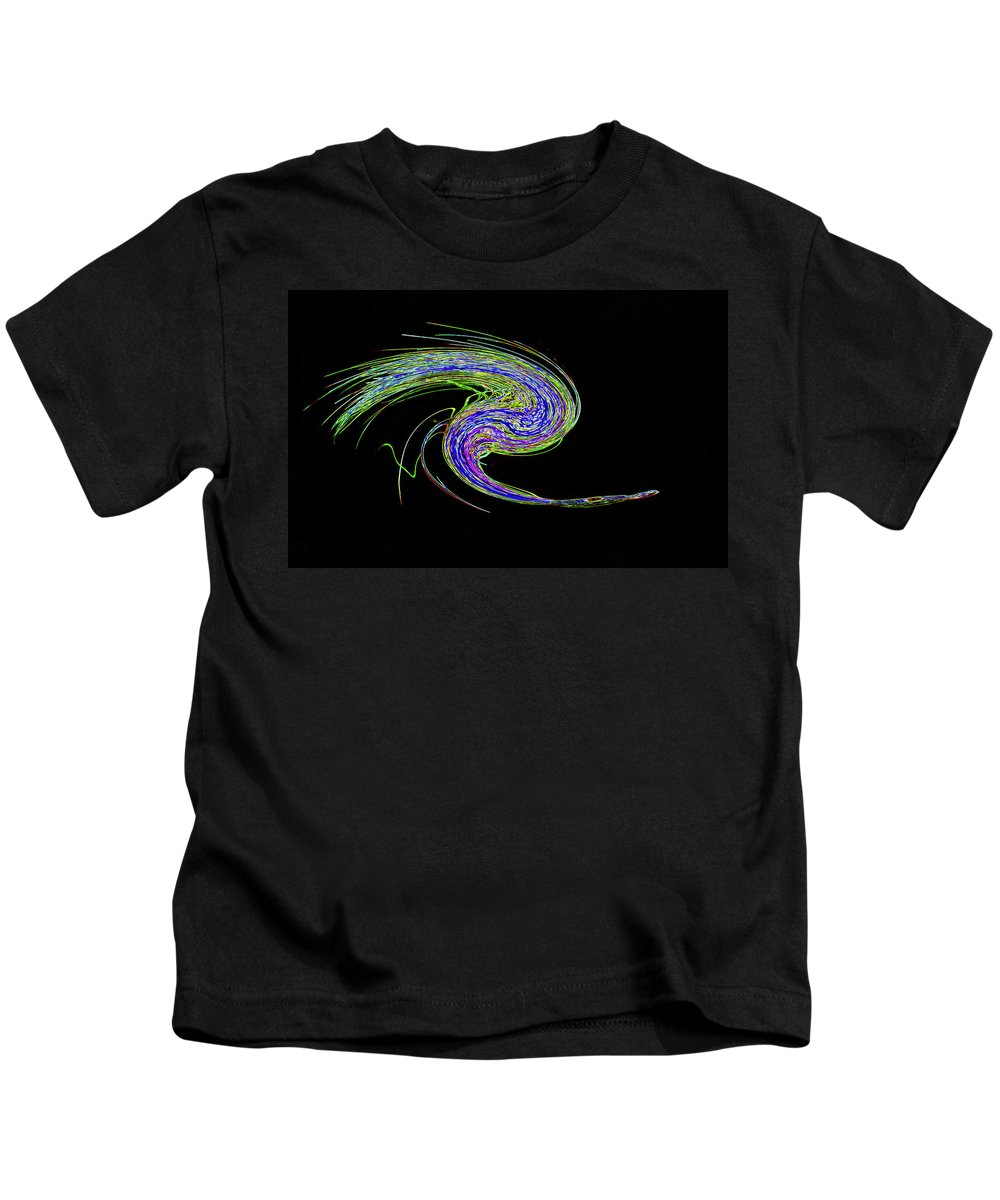 Abstract Kids T-Shirt featuring the photograph Neon Twirl by Skip Willits
