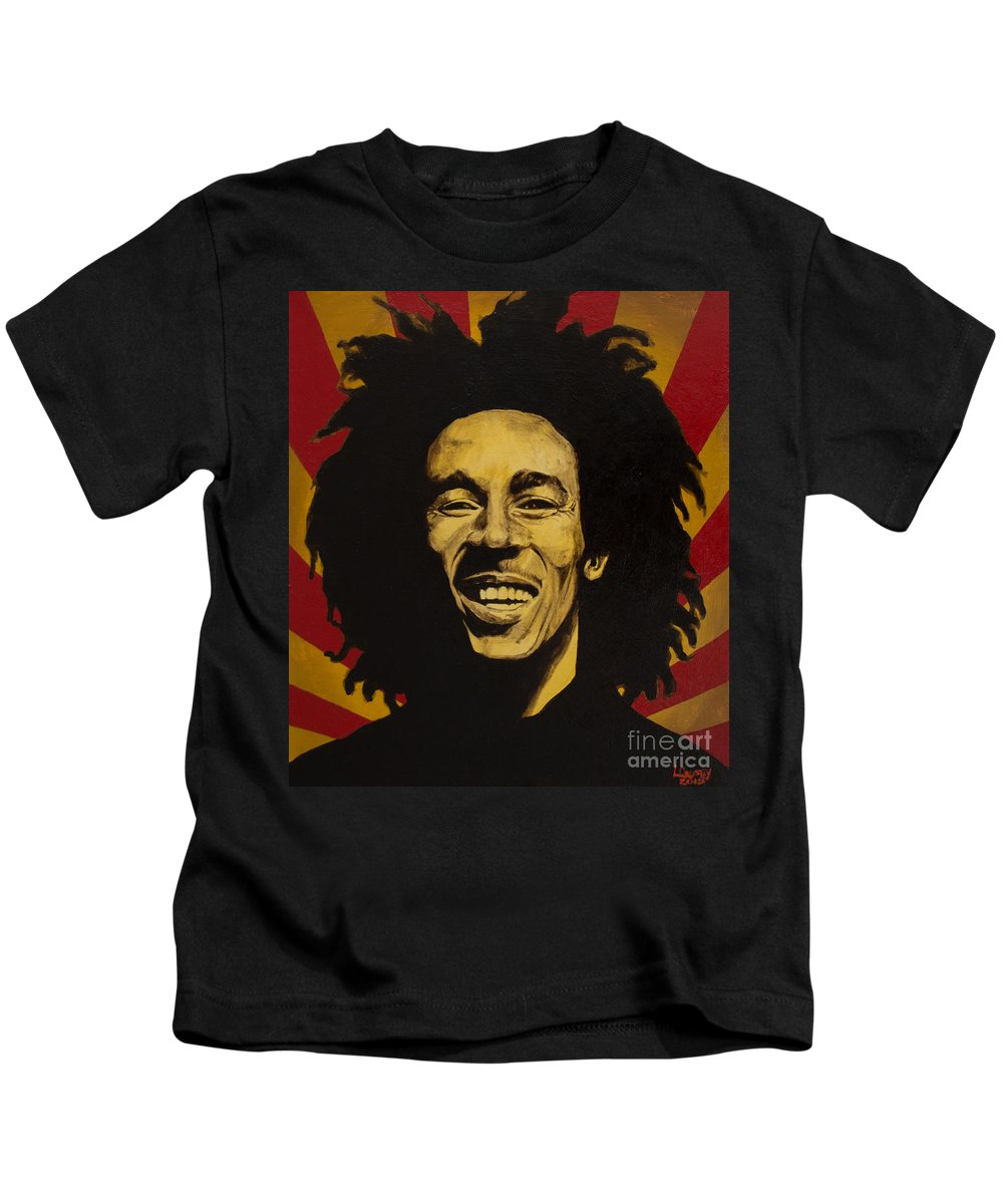 Bob Marley Kids T-Shirt featuring the painting Nesta Robert Marley by Lamark Crosby