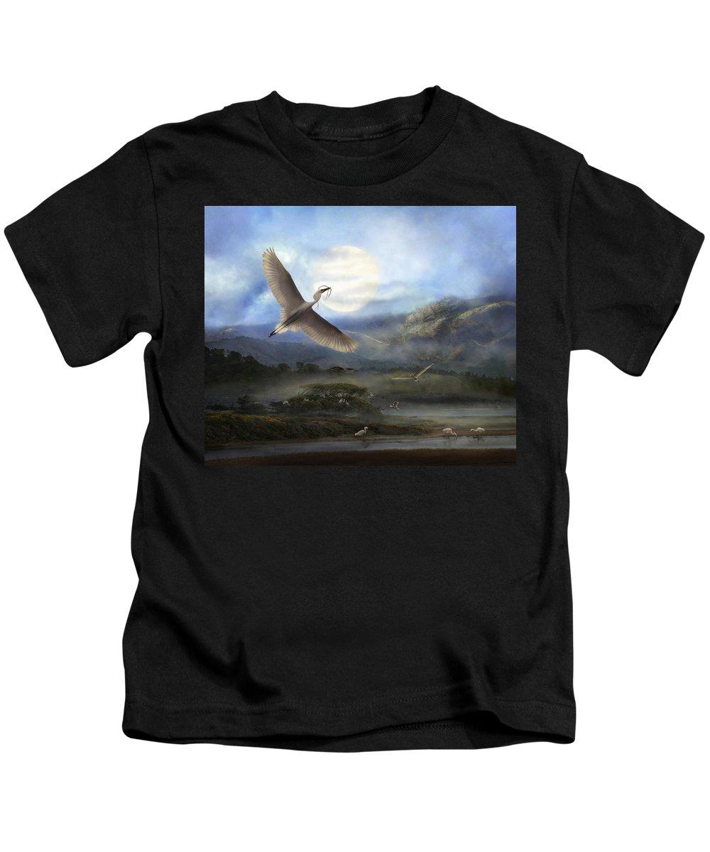 Egrets Kids T-Shirt featuring the photograph Nesting Egrets by Melinda Hughes-Berland