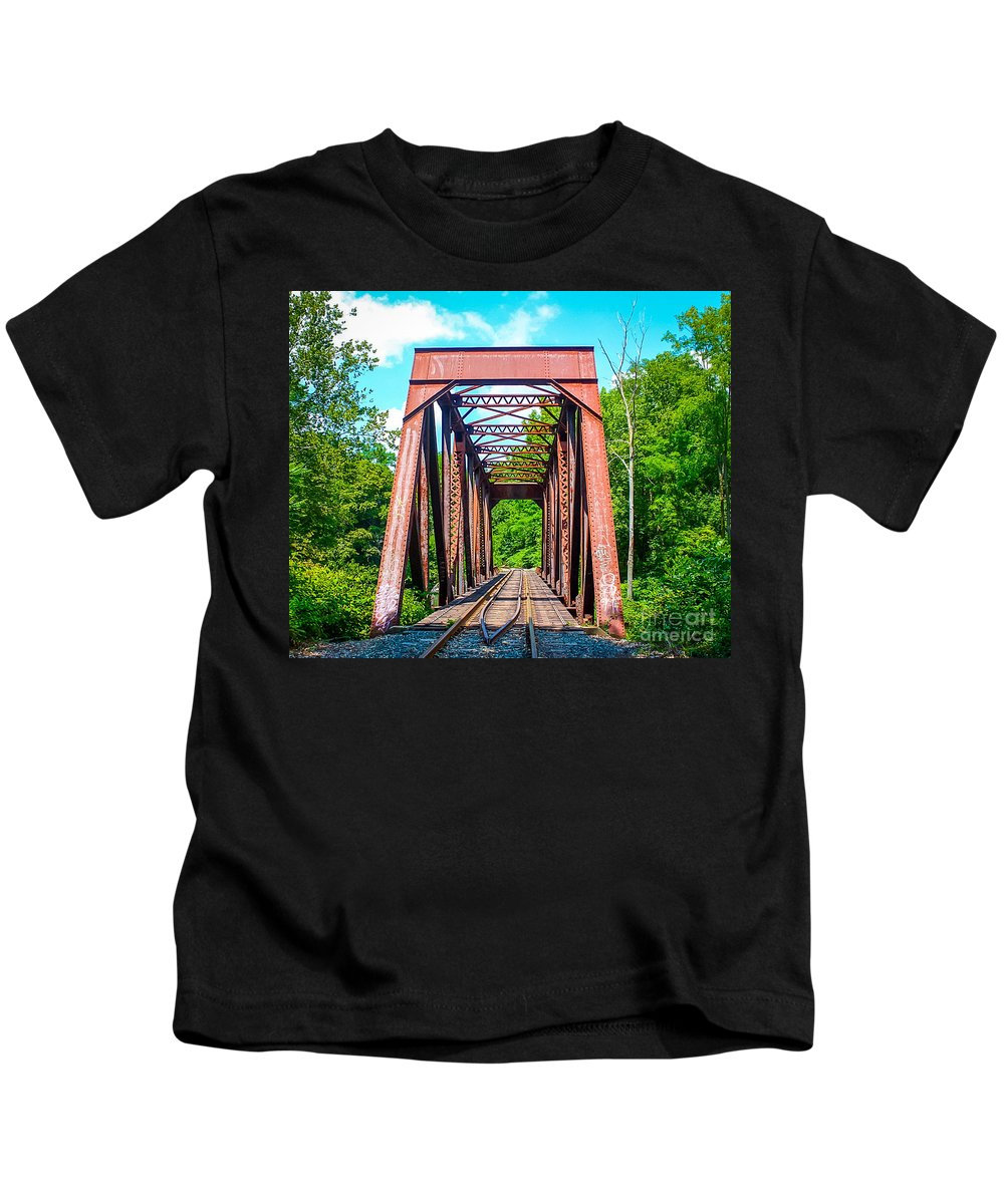 New England Kids T-Shirt featuring the photograph New England Bridge by DAC Photography