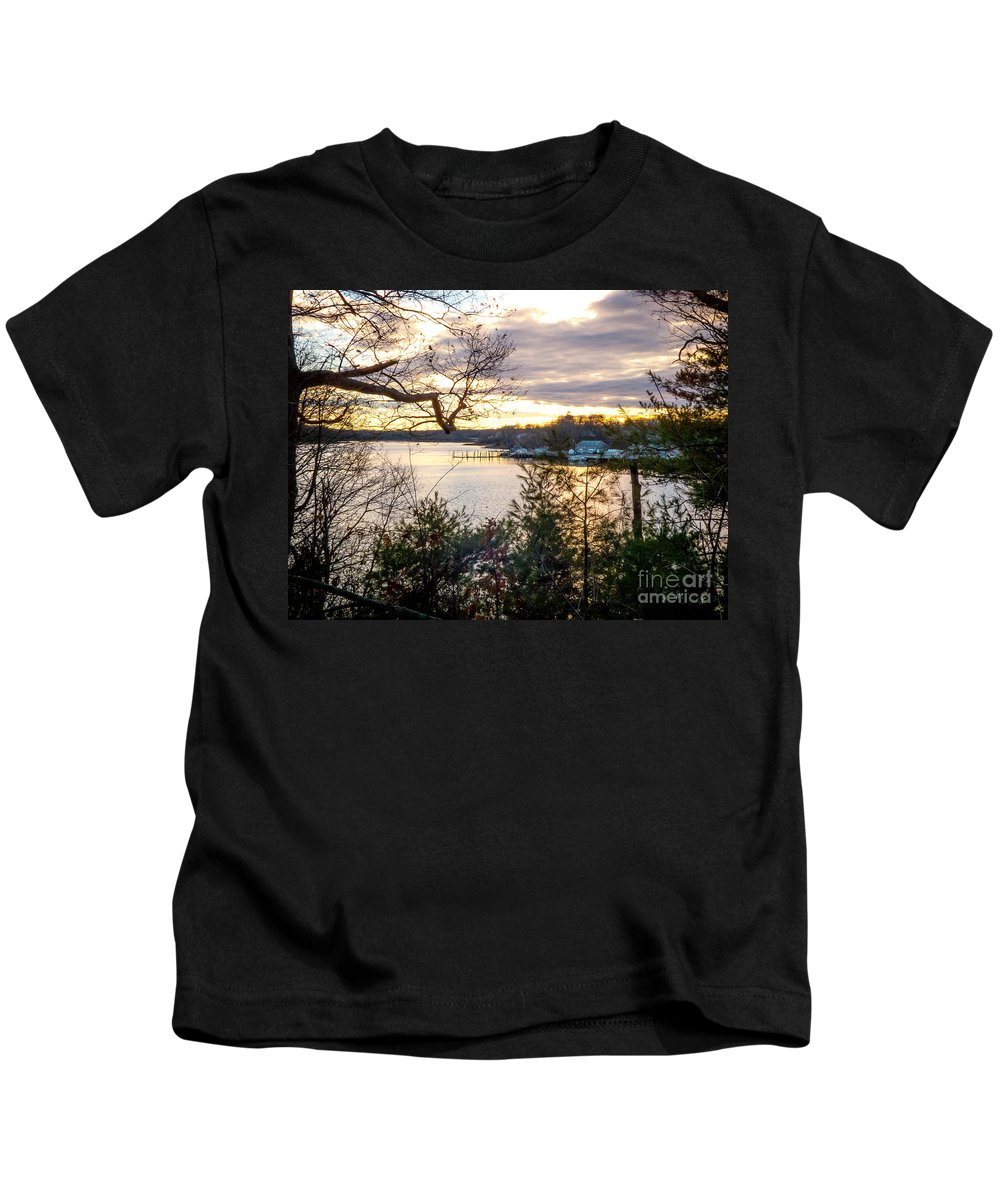 New England Kids T-Shirt featuring the photograph New England Winter Sunset by DAC Photography