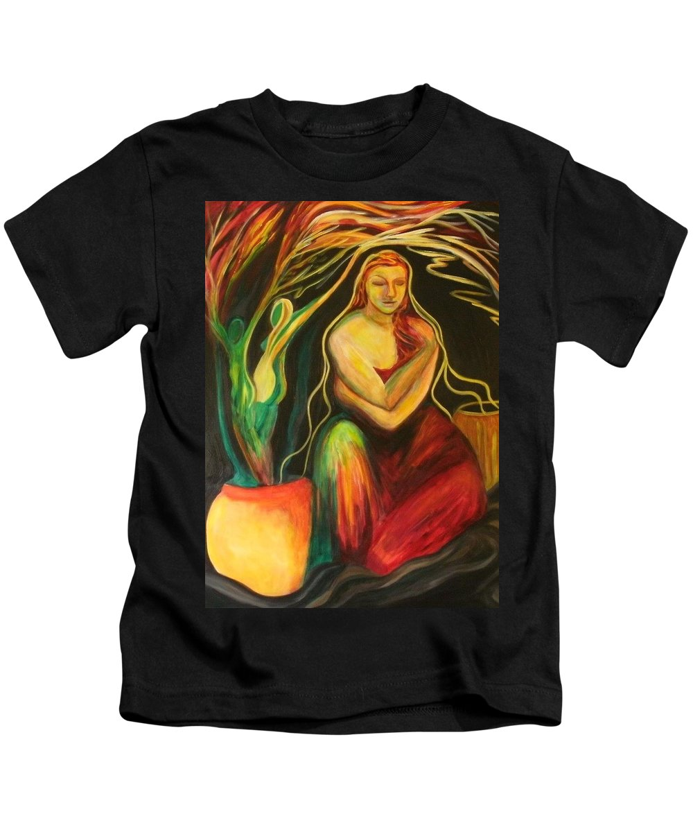 People Kids T-Shirt featuring the painting New Growth by Carolyn LeGrand