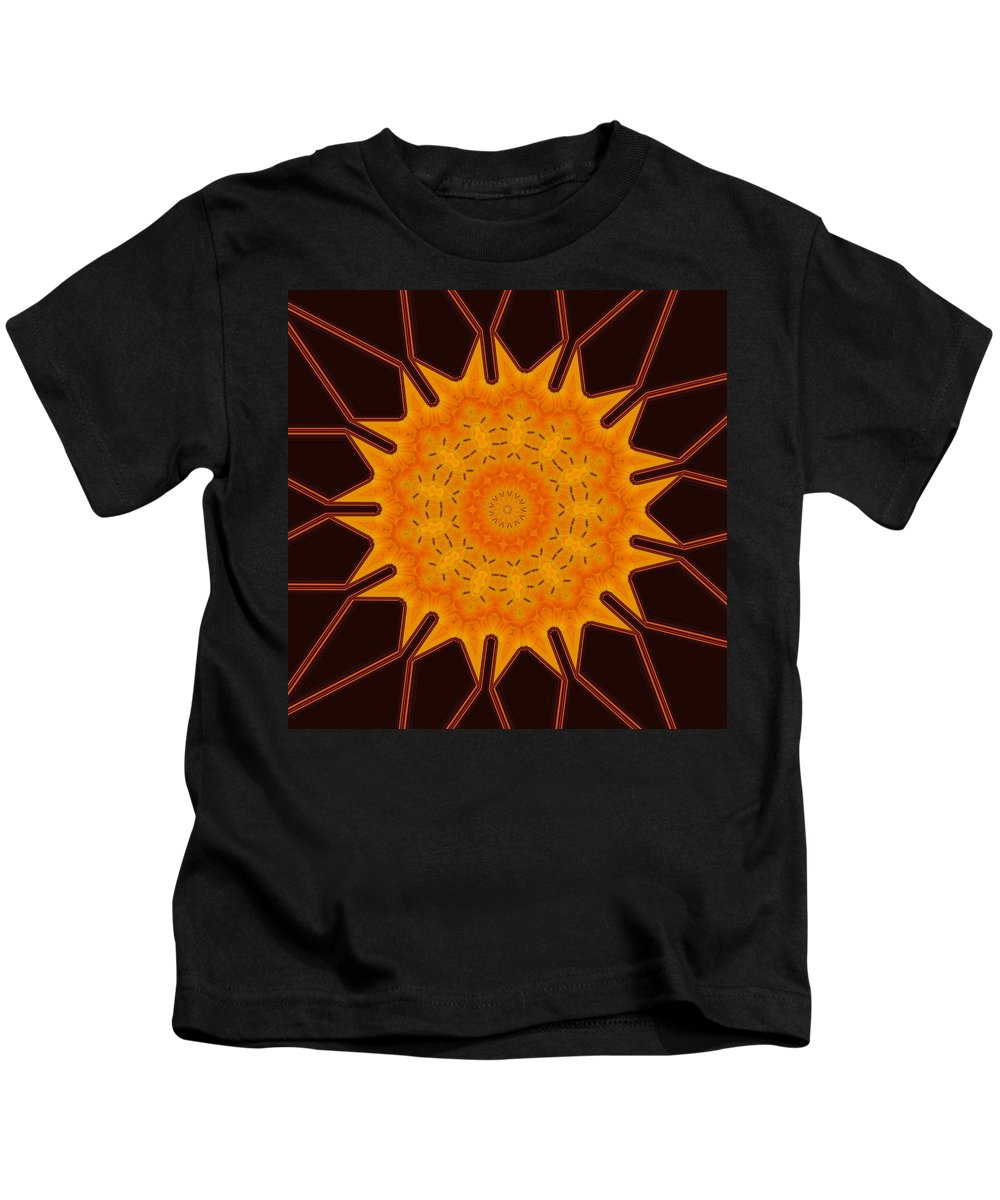 Abstract Kids T-Shirt featuring the digital art New Media Art Marigold On Mocha Kaleidoscope by Taiche Acrylic Art