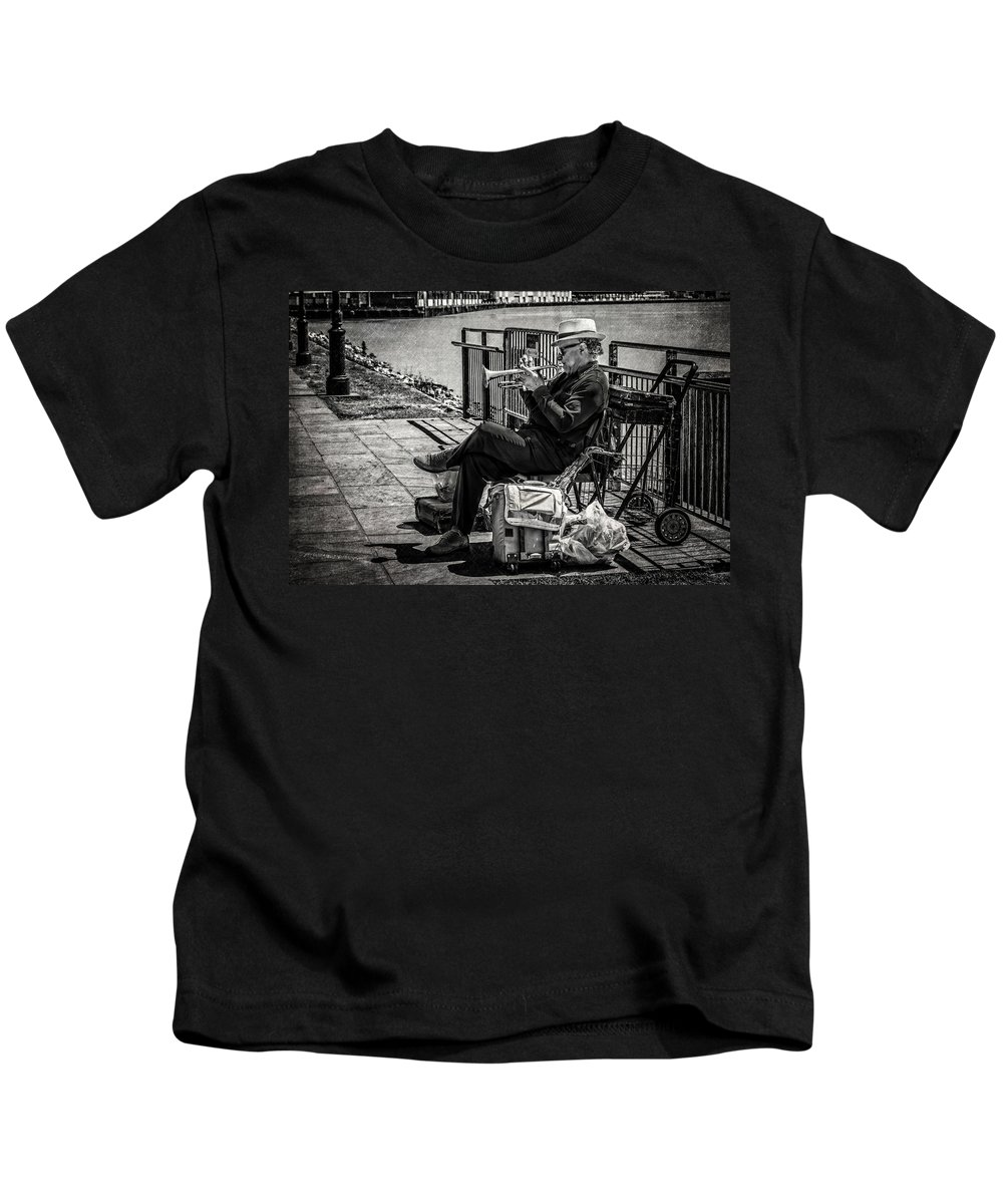 Nawlins Kids T-Shirt featuring the photograph New Orleans Waterfront Jazz by Melinda Ledsome