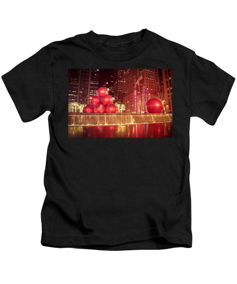 New York City Kids T-Shirt featuring the photograph New York City Holiday Decorations by Vivienne Gucwa
