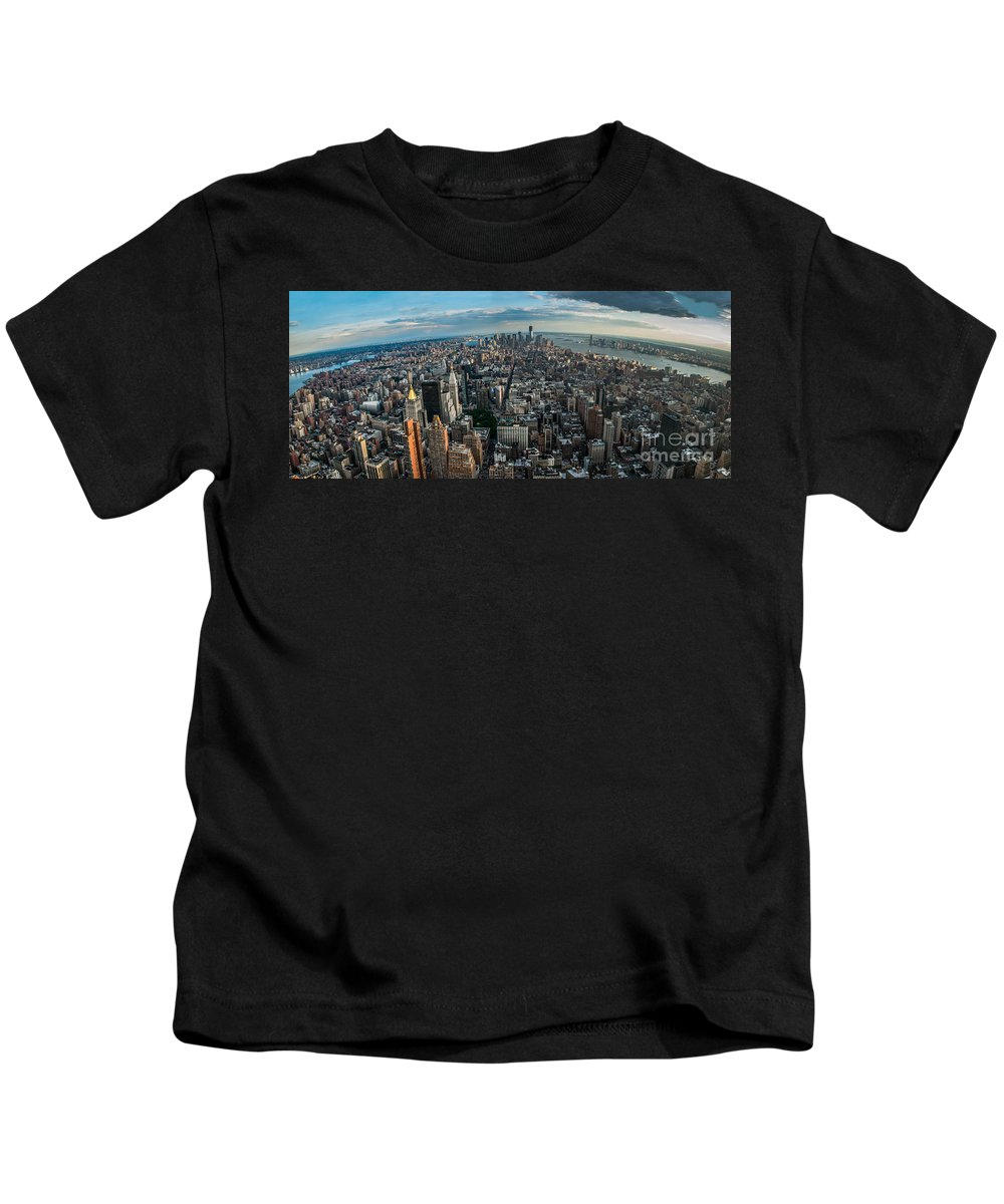 Manhatten Kids T-Shirt featuring the photograph New York From A Birds Eyes - Fisheye by Hannes Cmarits
