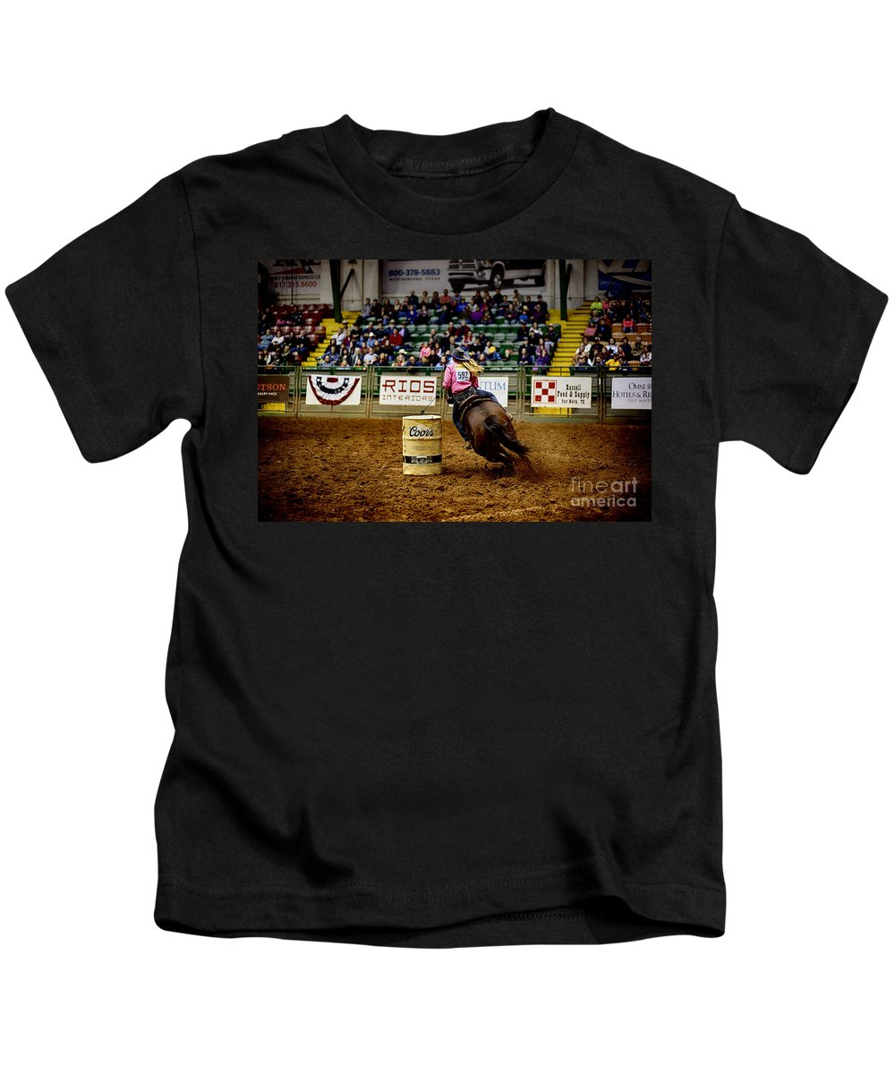Night Kids T-Shirt featuring the photograph Night At The Rodeo V23 by Douglas Barnard