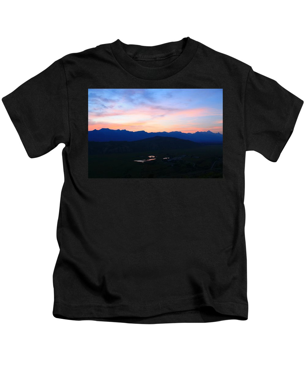 Sunset Kids T-Shirt featuring the photograph Night At The Tetons by Catie Canetti