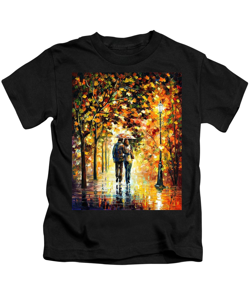 People Kids T-Shirt featuring the painting Night Elegy by Leonid Afremov