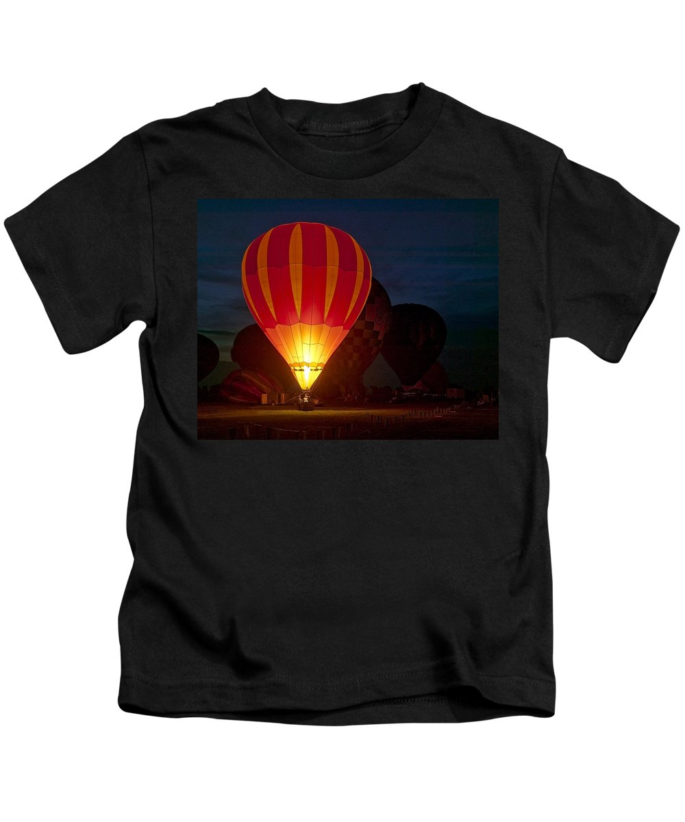 Fineart Kids T-Shirt featuring the photograph Night Glow by Jeff Burton