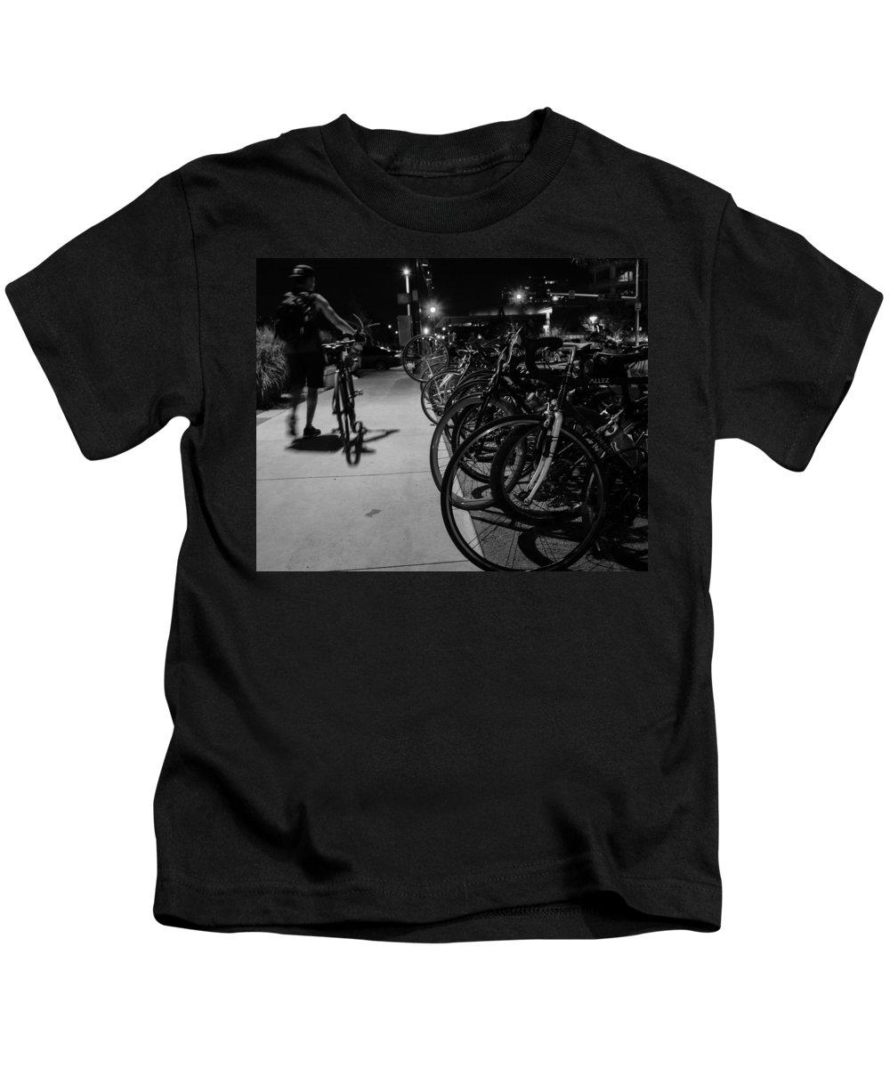 Bike Kids T-Shirt featuring the photograph Night Rider by Jeff Mize