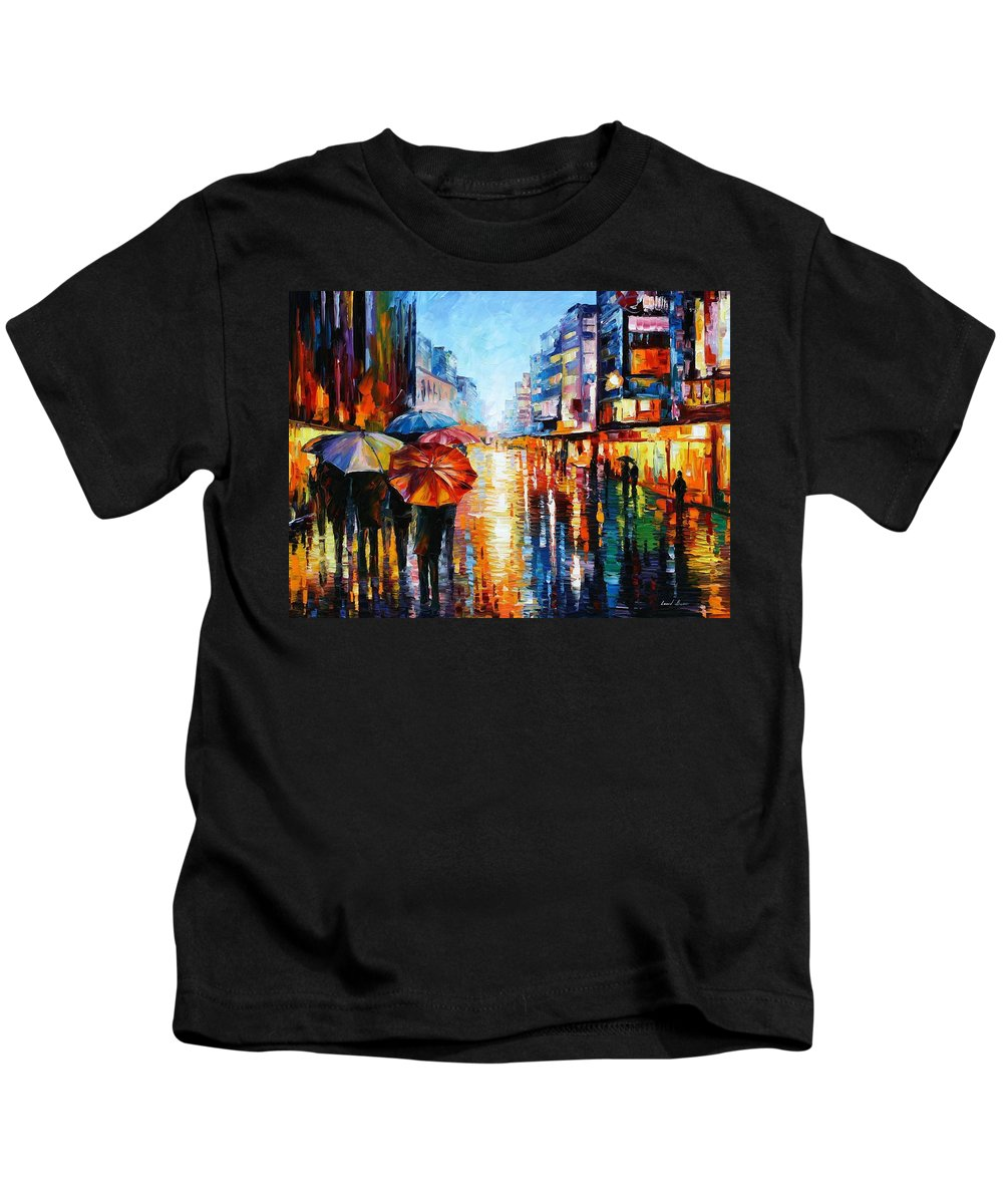 Oil Paintings Kids T-Shirt featuring the painting Night Umbrellas - Palette Knife Oil Painting On Canvas By Leonid Afremov by Leonid Afremov