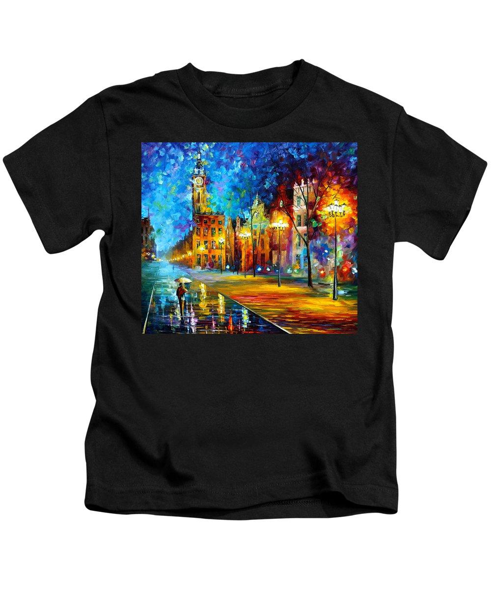 Afremov Kids T-Shirt featuring the painting Night Vitebsk by Leonid Afremov