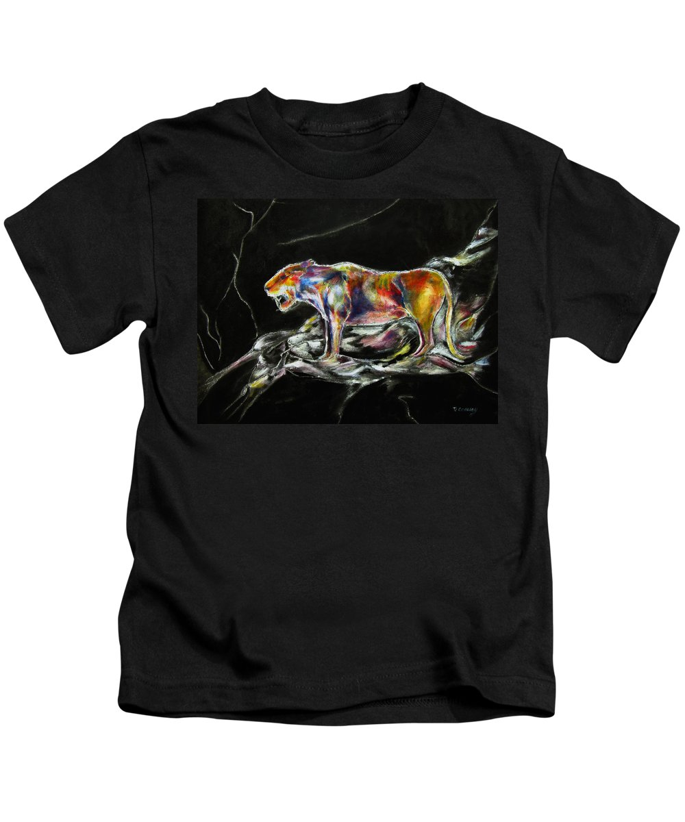 Animals Kids T-Shirt featuring the painting No Fear by Tom Conway