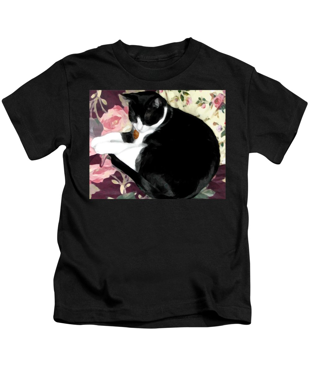 Black And White Kids T-Shirt featuring the photograph No Worries by Jeanne A Martin