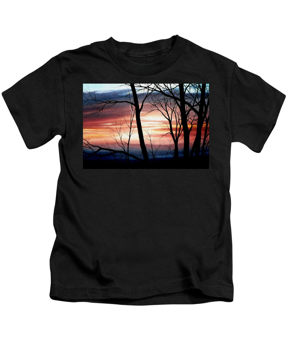 Fall Landscape Painting Kids T-Shirt featuring the painting November Lace by Hanne Lore Koehler