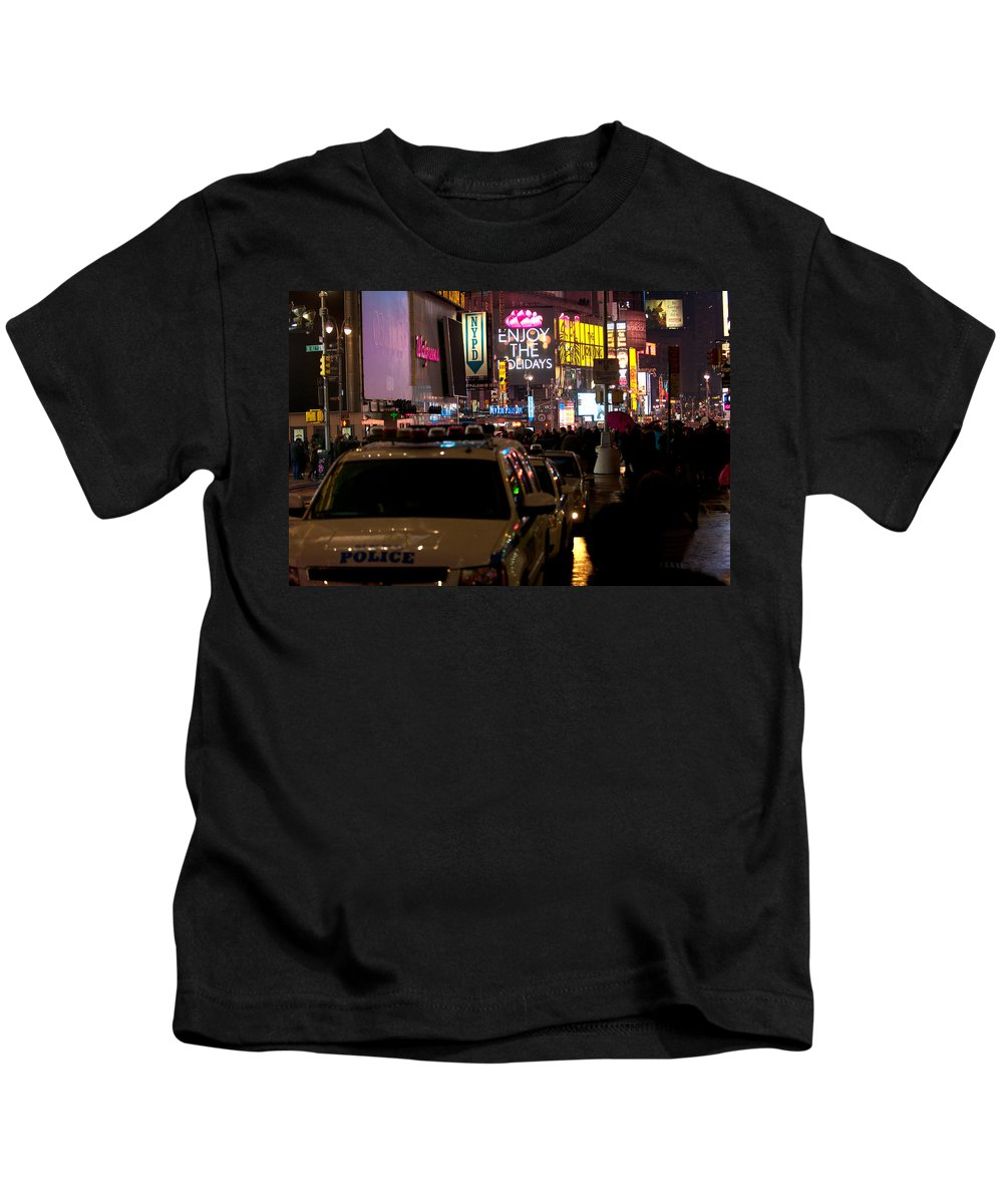 """new York City"" Kids T-Shirt featuring the photograph Nypd by Paul Mangold"