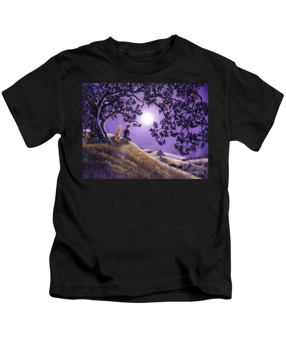 Zen Kids T-Shirt featuring the painting Oak Tree Meditation by Laura Iverson