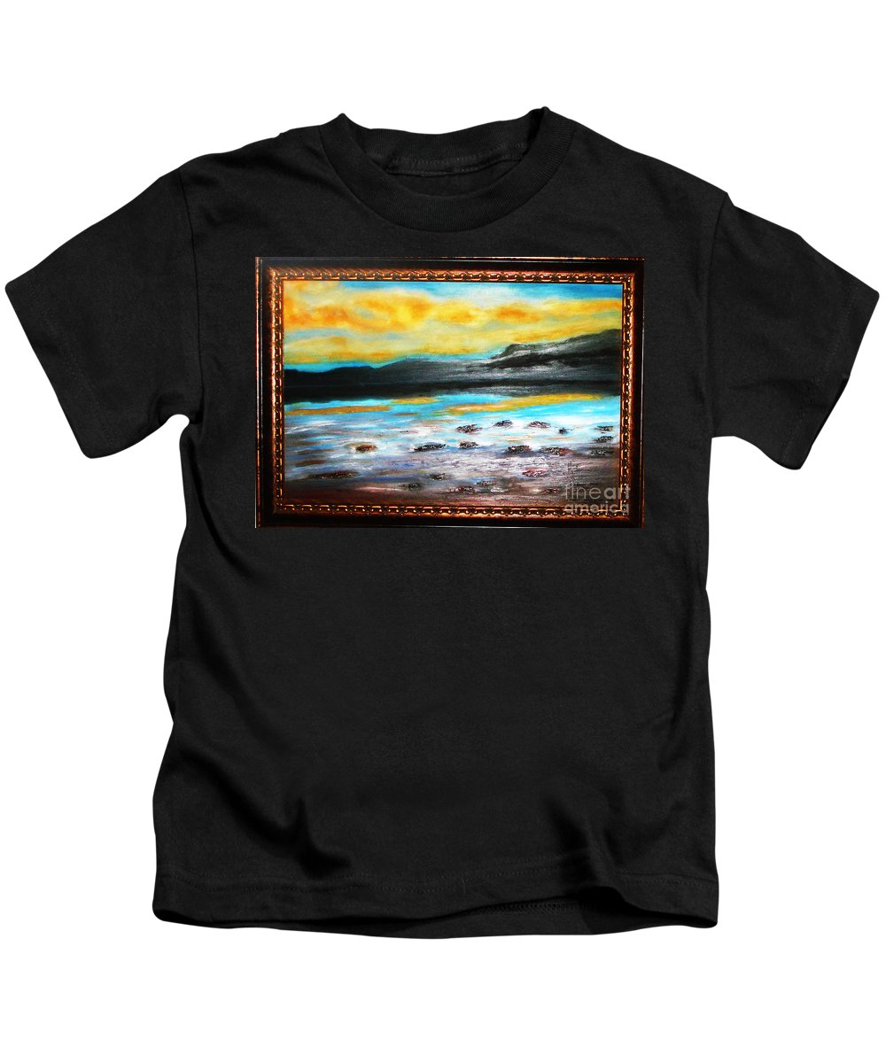 Oil Painting Kids T-Shirt featuring the painting Ocean View by Yael VanGruber