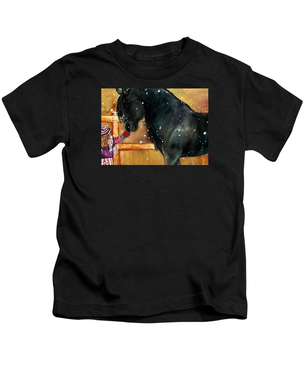 Horse Kids T-Shirt featuring the painting Of Girls And Horses Sold by Lil Taylor