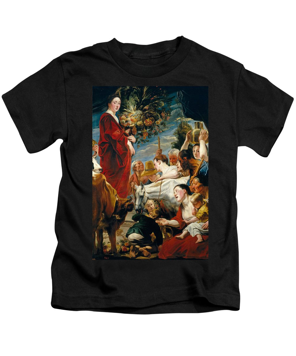 Jacob Jordaens Kids T-Shirt featuring the painting Offering To Ceres Goddess Of Harvest by Jacob Jordaens