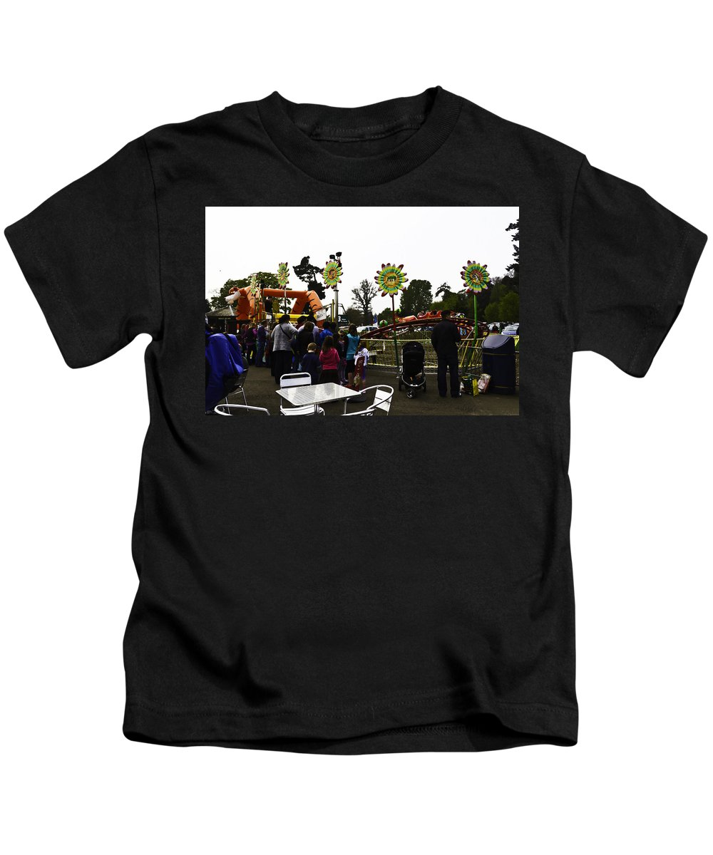 Baby Pram Kids T-Shirt featuring the digital art Oil Painting - A Table Along With The Dragon Coaster At The Blair Drummond Safari Park by Ashish Agarwal