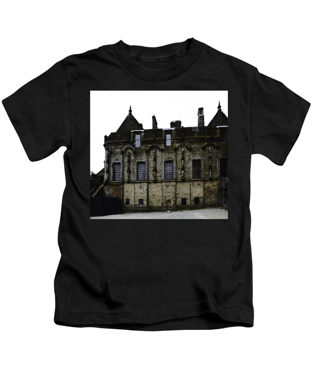 Action Kids T-Shirt featuring the digital art Oil Painting - The Royal Palace Inside Stirling Castle In Scotland by Ashish Agarwal