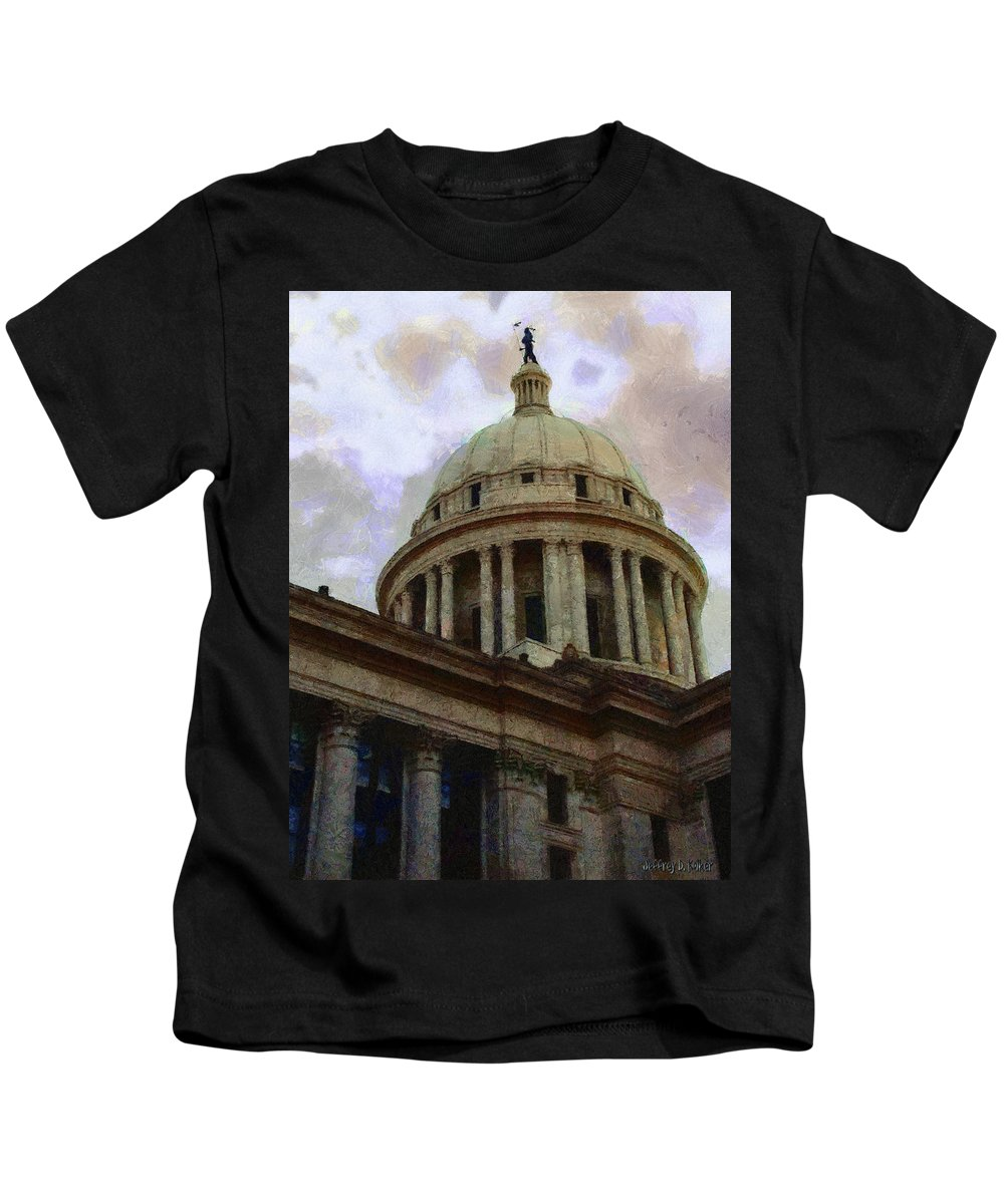 Architecture Kids T-Shirt featuring the painting Oklahoma Capital by Jeffrey Kolker