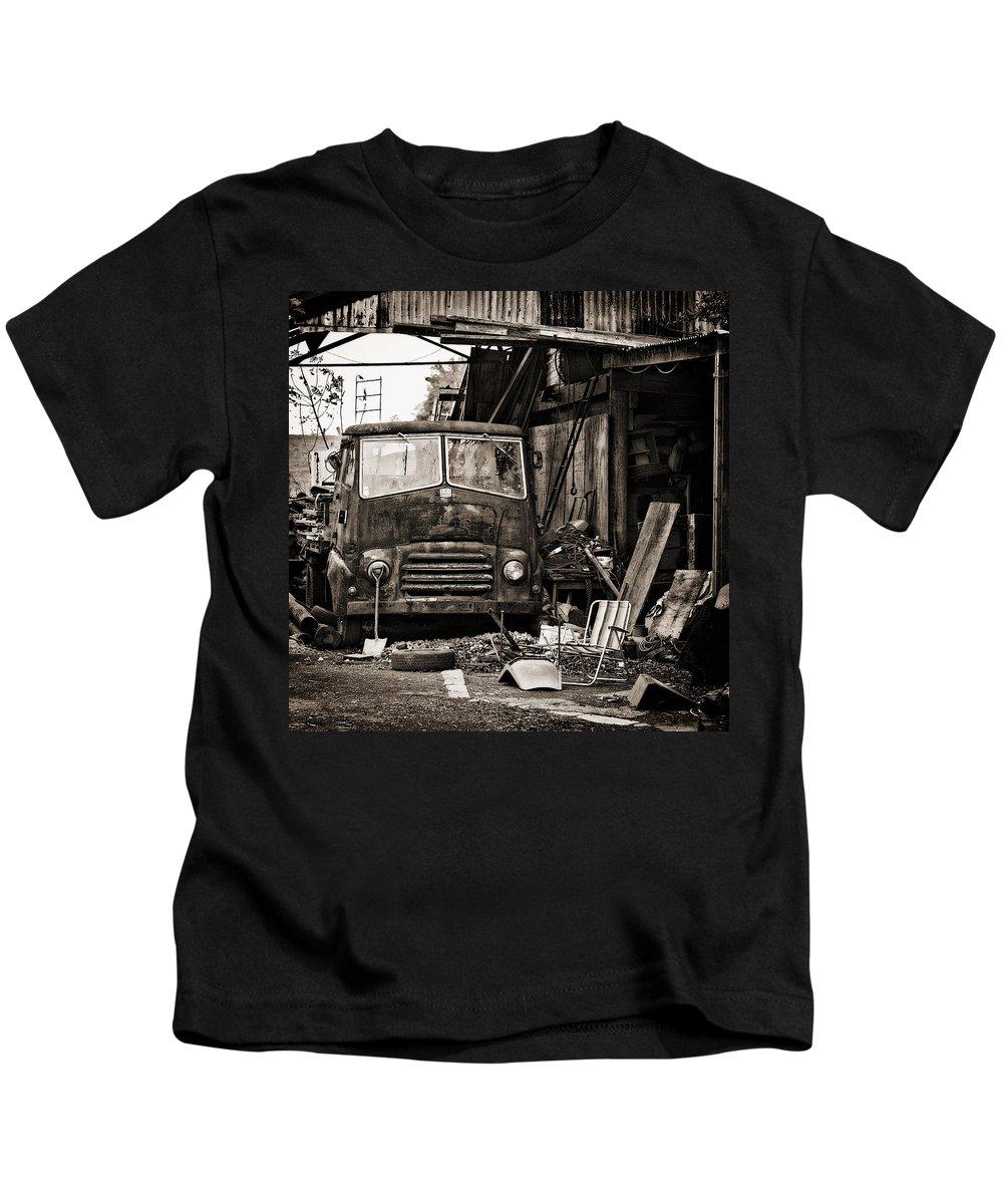Bmc Kids T-Shirt featuring the photograph old BMC diesel by Meirion Matthias