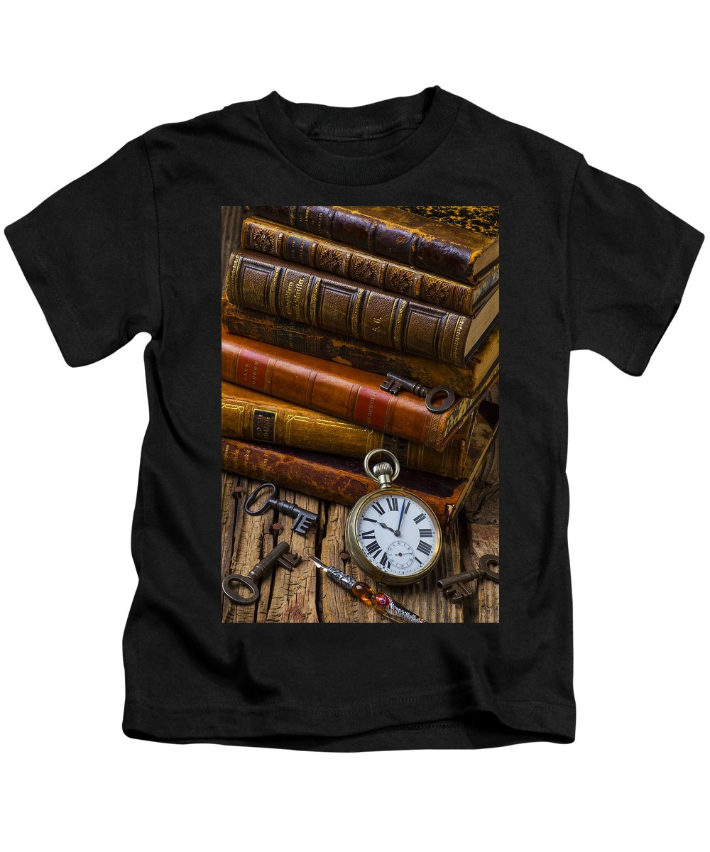 Key Kids T-Shirt featuring the photograph Old Books And Pocketwatch by Garry Gay