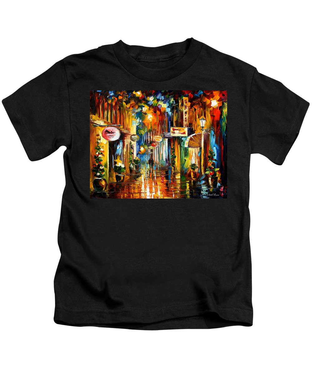 Oil Paintings Kids T-Shirt featuring the painting Old City Street - Palette Knife Oil Painting On Canvas By Leonid Afremov by Leonid Afremov