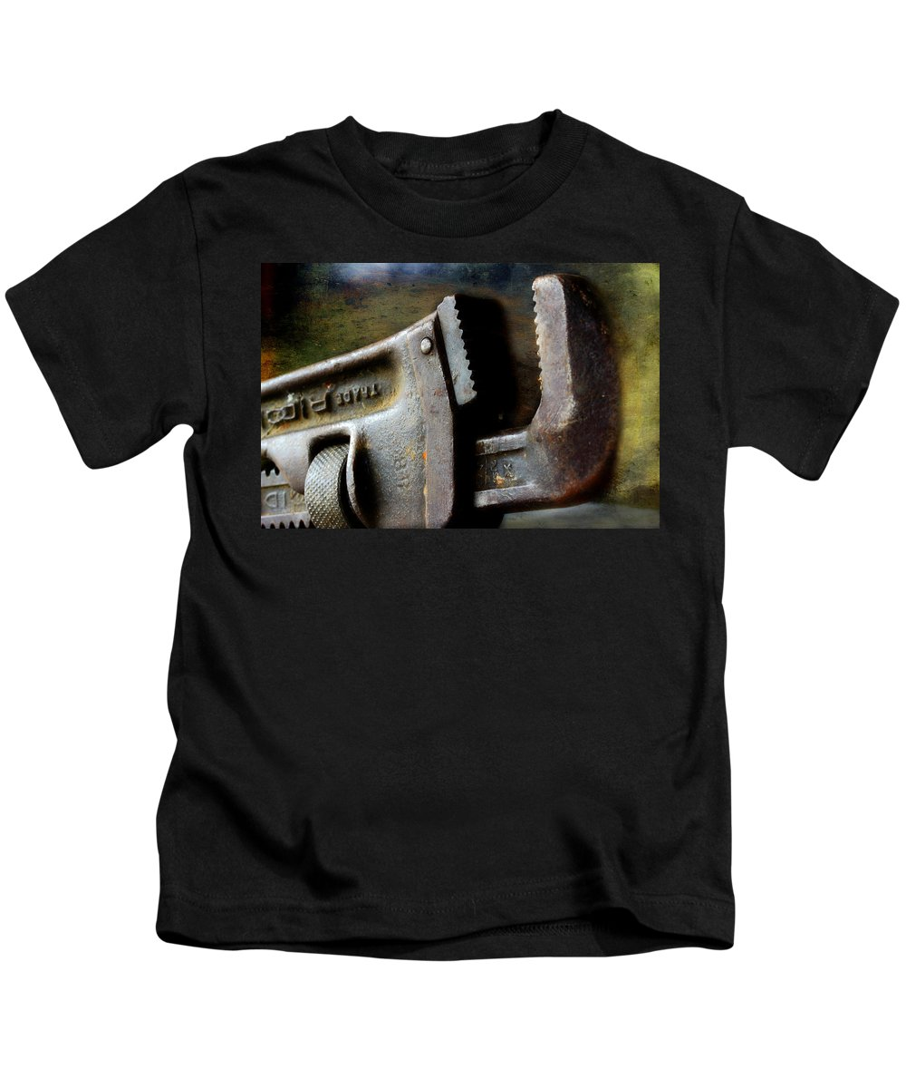 Pipe Wrench Kids T-Shirt featuring the photograph Old Pipe Wrench by Michael Eingle
