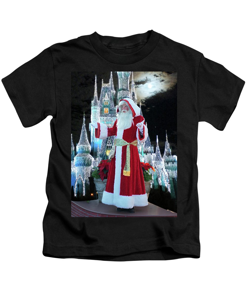 Variety Kids T-Shirt featuring the photograph Old Saint Nick Walt Disney World Digital Art 02 by Thomas Woolworth