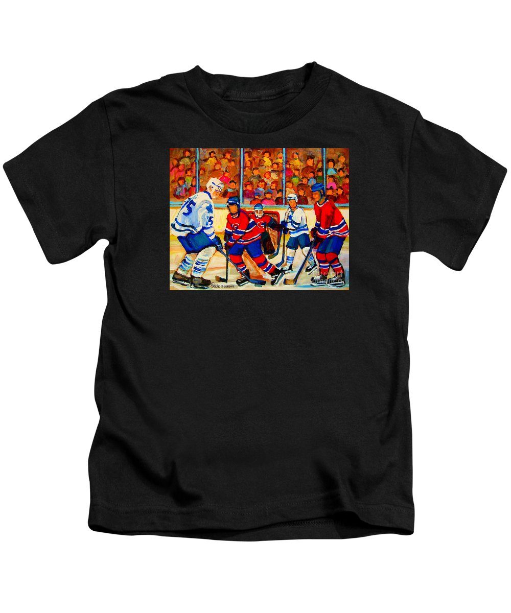 Hockey Kids T-Shirt featuring the painting Olympic Hockey Hopefuls Painting By Montreal Hockey Artist Carole Spandau by Carole Spandau