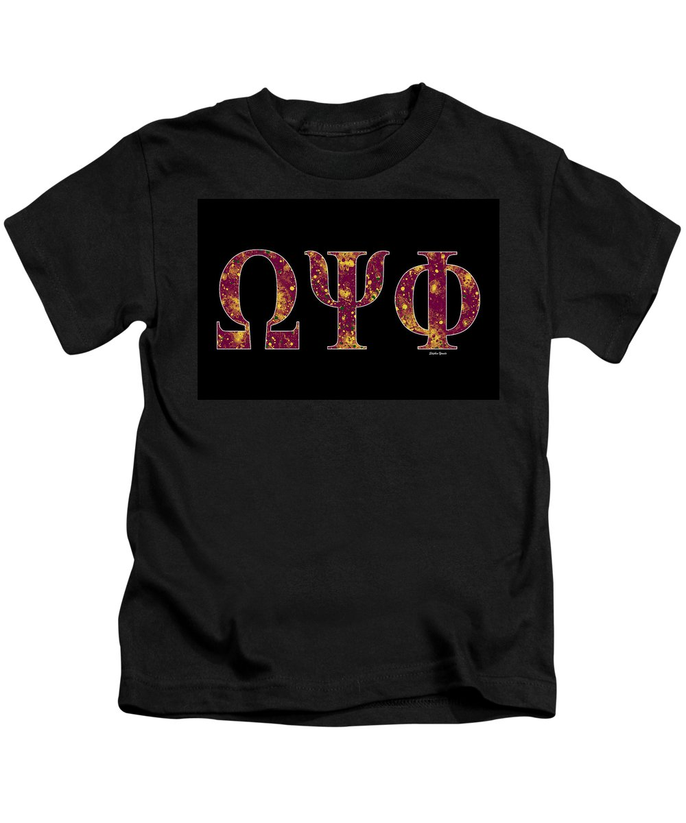 Omega Psi Phi Kids T-Shirt featuring the digital art Omega Psi Phi - Black by Stephen Younts