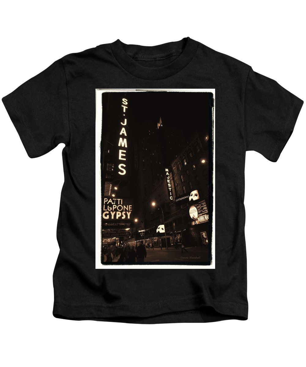 New York Kids T-Shirt featuring the photograph On Broadway by Donna Blackhall