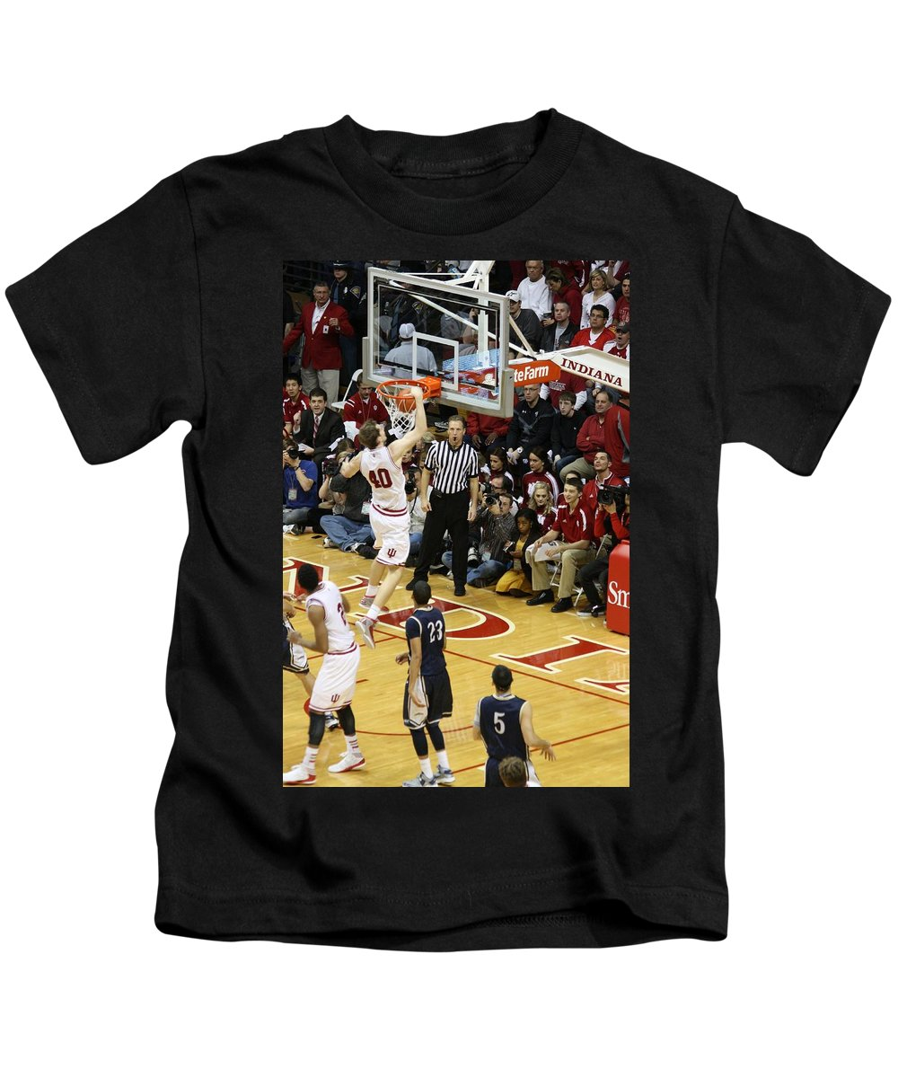 Indiana University Basketball Kids T-Shirt featuring the photograph One Hand Jam by Michael Cressy