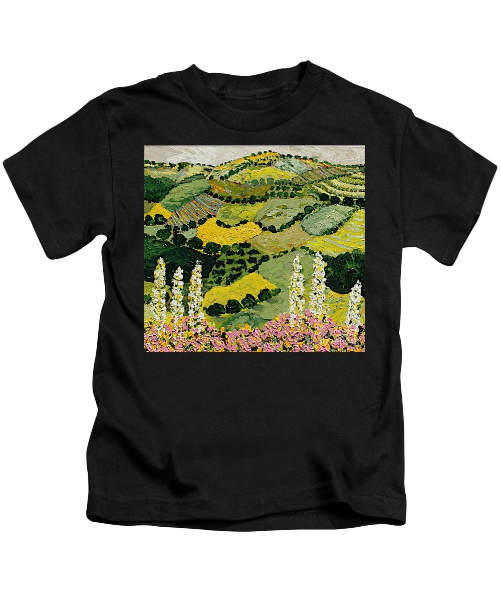 Landscape Kids T-Shirt featuring the painting One More Smile by Allan P Friedlander