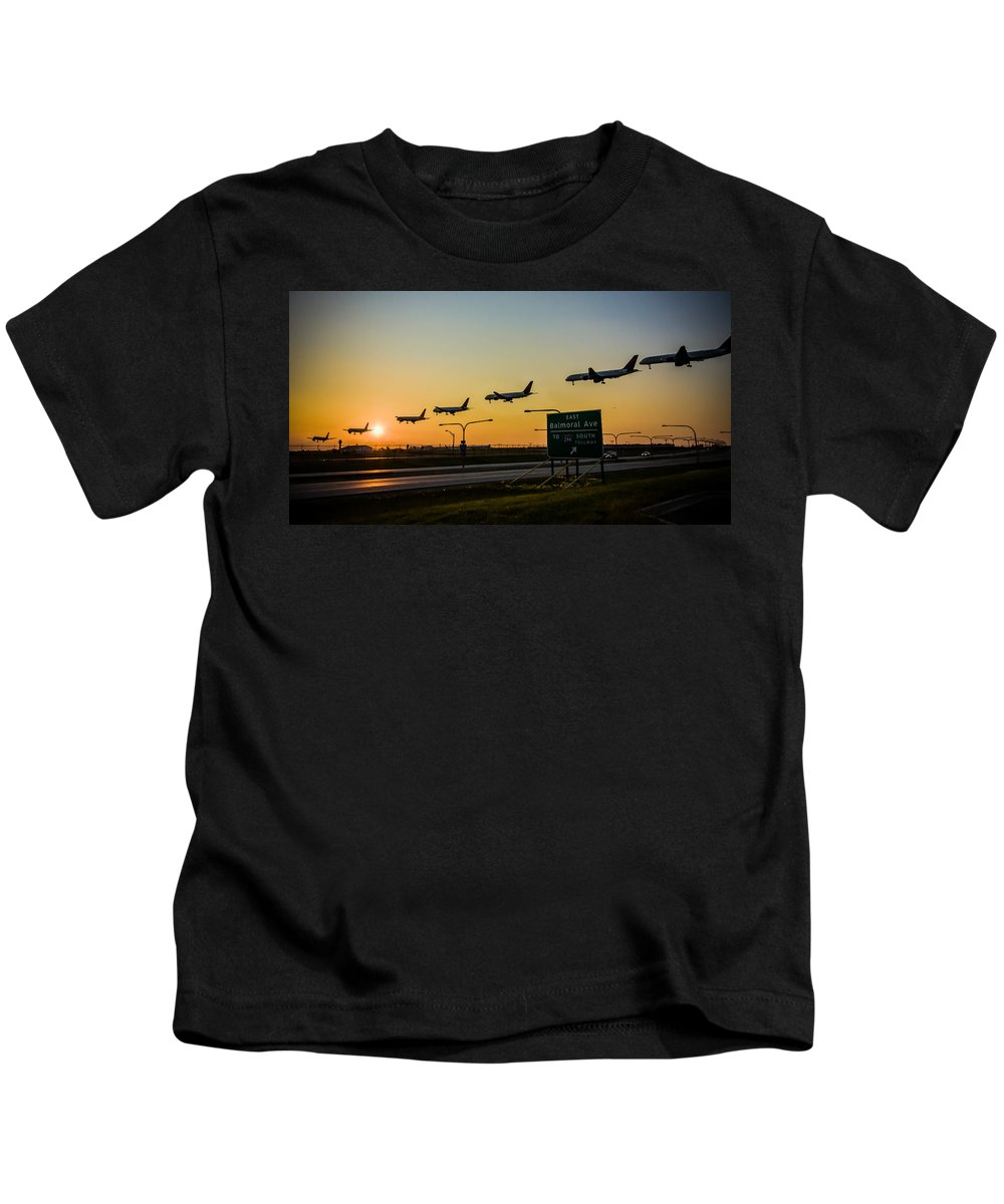 Chicago Kids T-Shirt featuring the photograph One Plane Landing At O'hare by Anthony Doudt