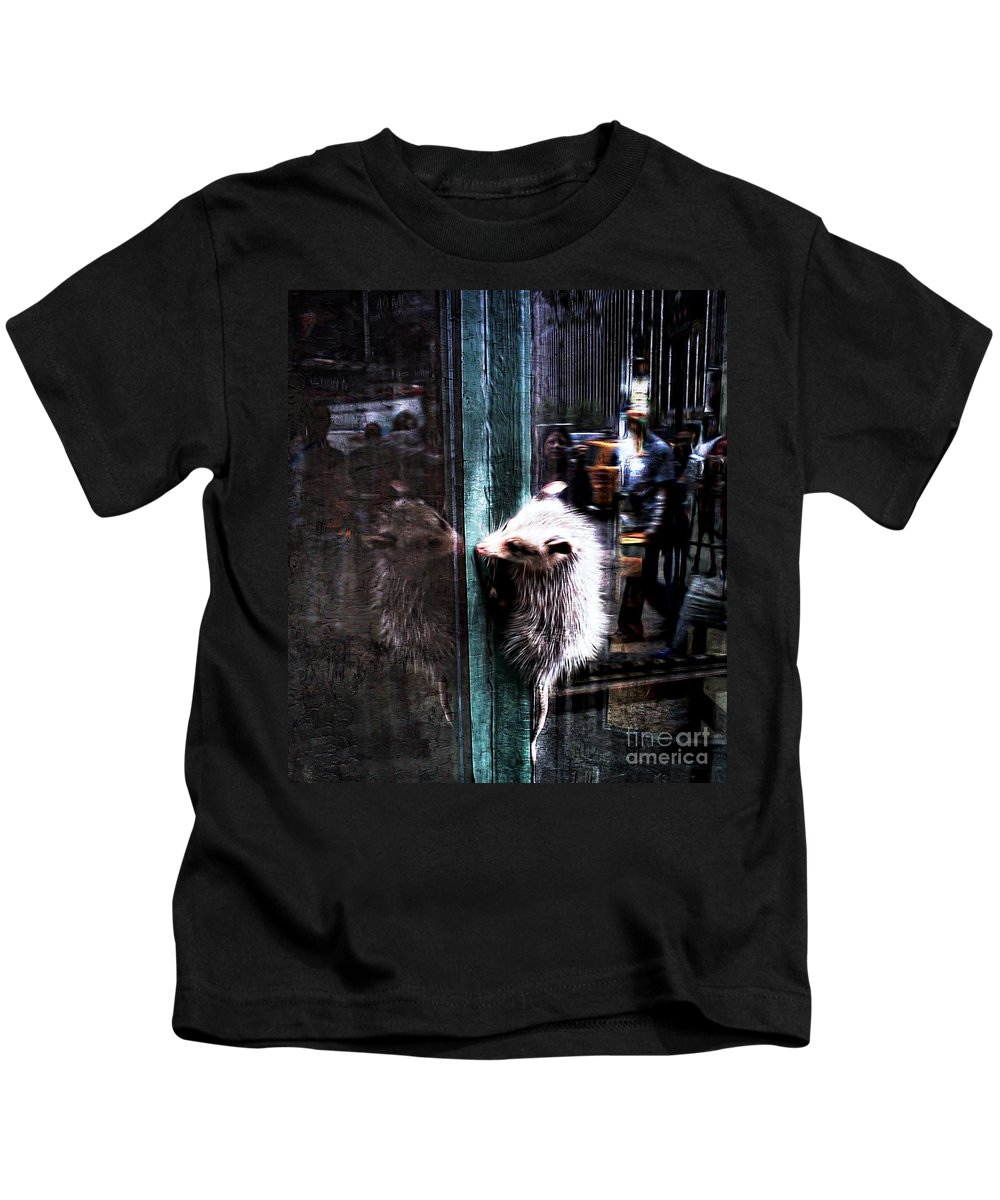 Opossum Kids T-Shirt featuring the photograph Opossum In The City by Lilliana Mendez