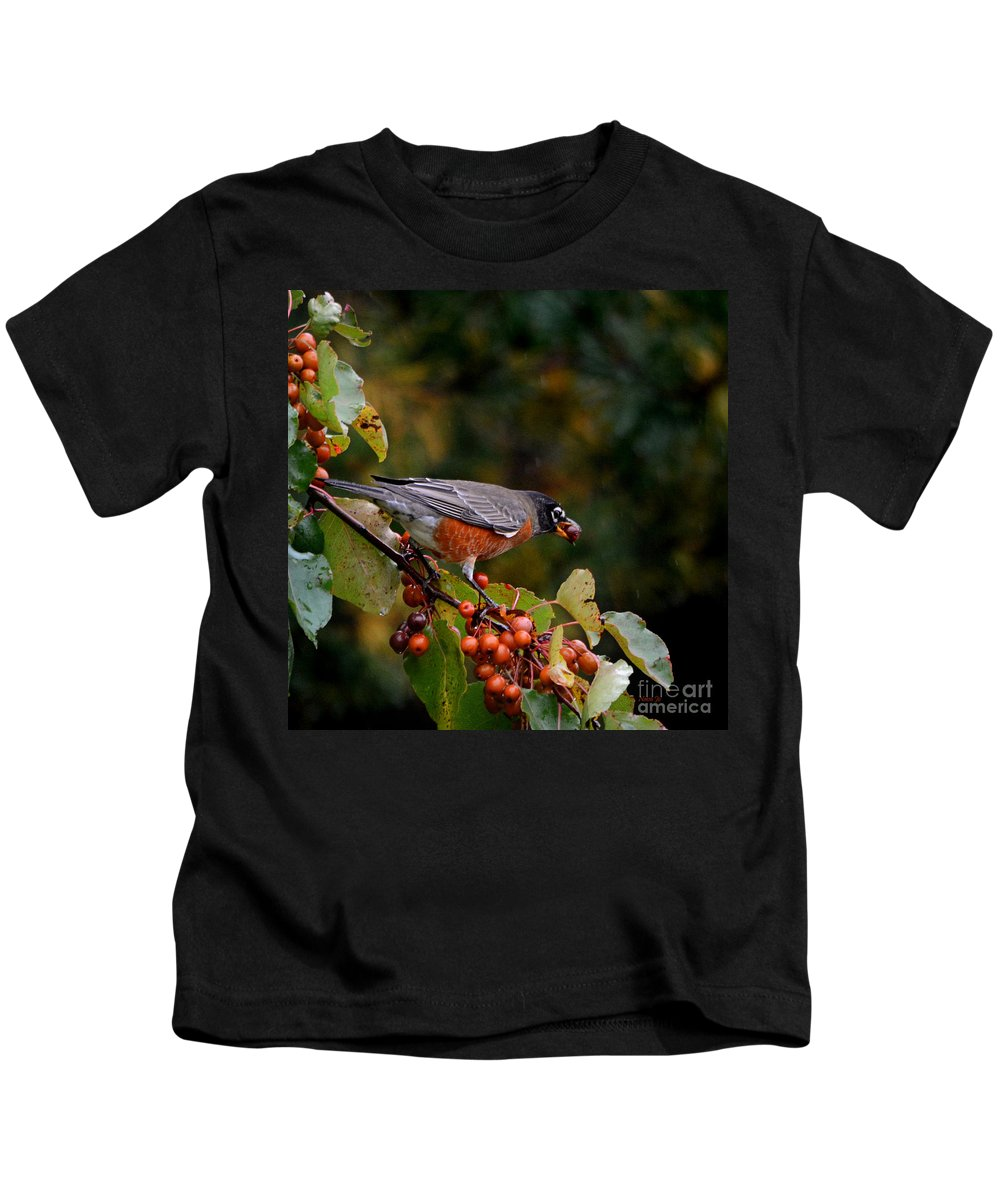 Nature Kids T-Shirt featuring the photograph Robin's Orange Buffet by Nava Thompson