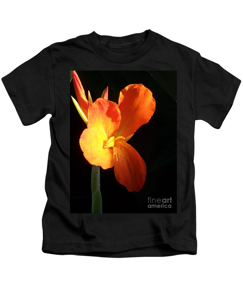 Garden Kids T-Shirt featuring the photograph Orange Flower Canna by Eric Schiabor