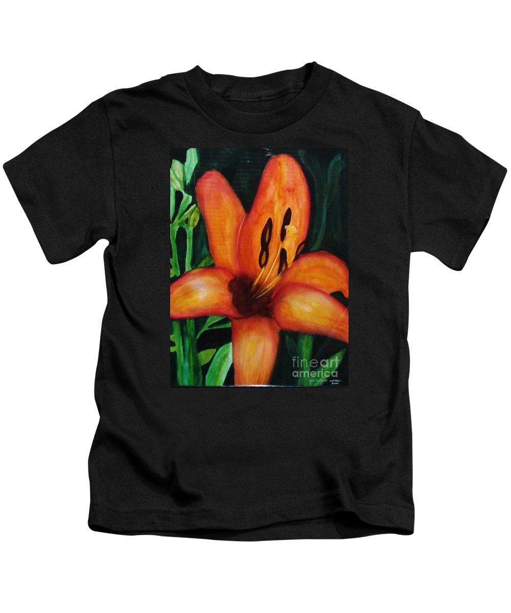 Flower Paintings Kids T-Shirt featuring the painting Beautiful Lily Flower by Yael VanGruber